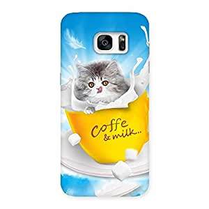 Cute Coffee Kitty Back Case Cover for Galaxy S7 Edge