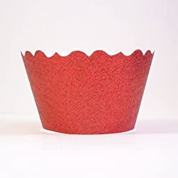 Bella Cupcake Couture 633131980264 Glitter Cupcake Wrappers, Red Flash, Set of 12