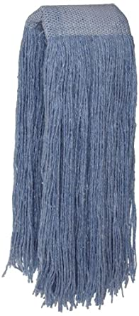 Zephyr Blendup Blue Blended Natural and Synthetic Fibers Cut End Wet Mop Head with Wide Band (Pack of 12)