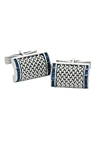 14K White Gold Mesh Cufflinks With Sapphires-86372