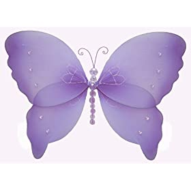Purple Crystal Butterfly nylon hanging ceiling wall baby nursery room wedding décor