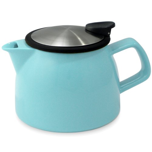 Forlife Bell Ceramic Teapot With Basket Infuser, 16-Ounce/470Ml (Turquoise)