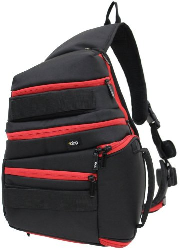 BBP DSLR Sling Bag Black/Red with iPad Slot and RAIN COVER (fits Canon EOS 7D, 5D, 60D, 50D, Rebel T3, T3i, T2i, T1i, XS)