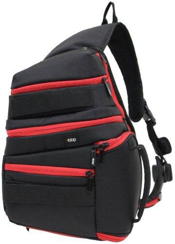 BBP DSLR Sling Bag Black/Red with iPad Slot and RAIN COVER (fits Canon EOS 7D, 5D, 60D, 50D, Rebel T3, T3i, T2i, T1i, XS)