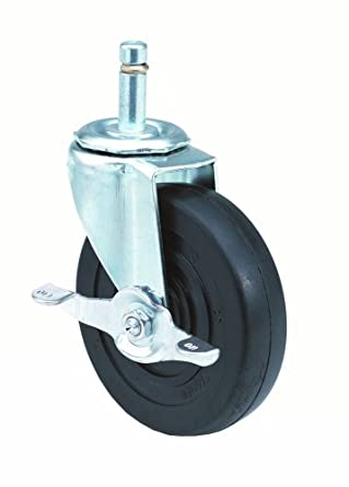 E.R. Wagner Stem Caster, Swivel with Pinch Brake, Polyolefin Wheel