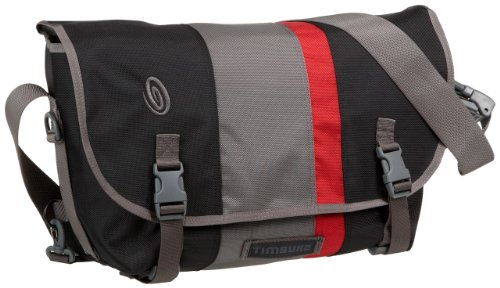 Timbuk2 D-Lux Race Stripe Laptop Messenger Bag,Black/Gunmetal/Rev Red,M