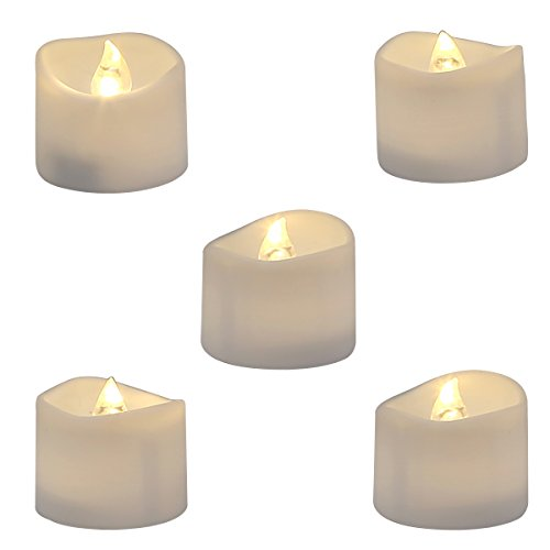 Homemory Realistic and Bright Flickering Bulb Battery Operated Flameless LED Tea Light for Seasonal & Festival Celebration, Pack of 12, Electric Fake Candle in Warm White and Wave Open (Electric Candles Battery Operated compare prices)