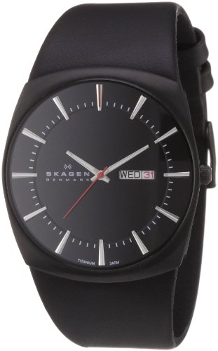 Skagen Stainless Steel White Label Men's Quartz Watch with Black Dial Analogue Display and Black Leather Strap 696XLTBLB