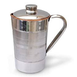 Dakshcraft Copper Jug with Lid Outside Stainless Steel, Improve Health