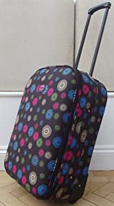Chocolate Spirals Pattern Small 41 Lts Travel Luggage Suitcase On Wheels Expanding Trolly Light Weight Brown Pink Blue