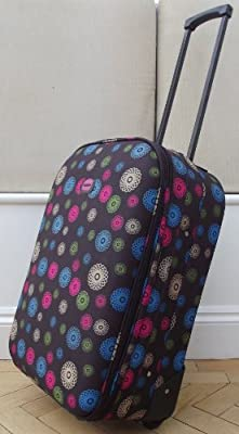 Chocolate Spirals pattern Small 41 lts Travel Luggage suitcase On Wheels EXPANDING trolly Light Weight Brown Pink & blue