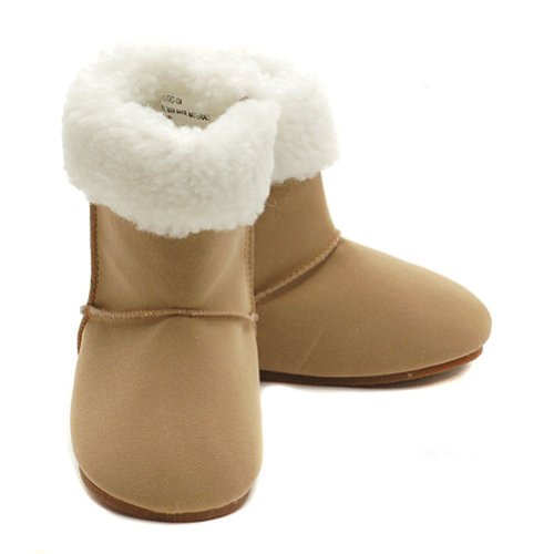 Modit Baby Girls 1 Tan Micro Suede Zipper Faux Fur Cuff Boots