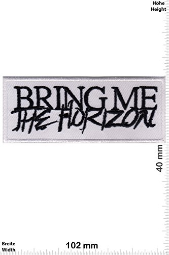 Patch - Bring Me the Horizon -Metalcore-/Deathcore-Band - white - Musicpatch - Rock - Vest - Iron on Patch - toppa - applicazione - Ricamato termo-adesivo - Give Away