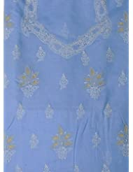 Exotic India Placid-Blue Salwar Kameez Fabric With Lukhnawi Chikan - Placid Blue