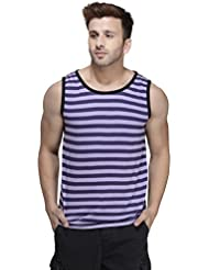 Rigo Purple Striped Viscose Sleeveless Scoop Neck Slim-Fit Vest
