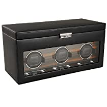 Wolf Designs Module 2.7 Roadster Triple Watch Winder with Cover and Storage, Black
