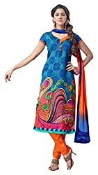 Avc Women's Cotton Unstitched Dress Material (Blue and Orange)