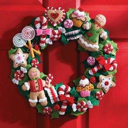 Bucilla 86264 Cookies and Candy Wreath Felt Applique
