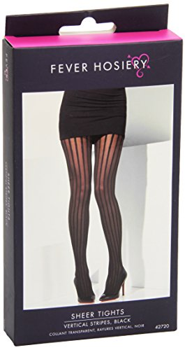 Fever Women's Sheer Tights Vertical Stripes In Display Box, Black, One Size