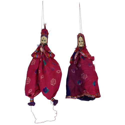 puppets with strings Indian rag dolls costumes Handcrafted - 1