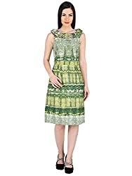 Woodin Frilled Boat Neck Printed Medium Length Dress for Women