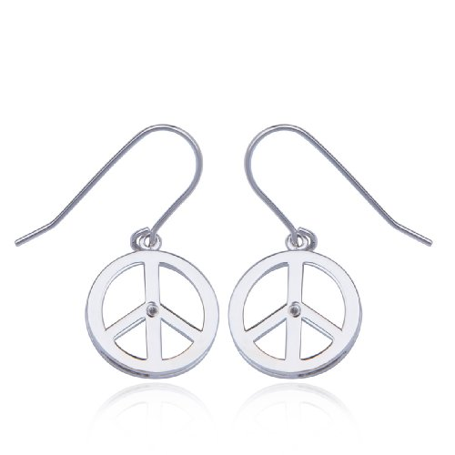 Sterling Silver Diamond-Accent Peace-Sign Earrings