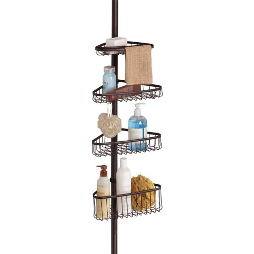 InterDesign York Bathroom Constant Tension Corner Shower Caddy in Bronze