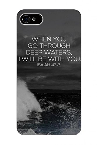When You Go Through Deep Waters I Will Be With You Isaiah 48:2 Bible Quote Christian Verses Pattern Theme Printing Protective Cover Protetor Sleeve Case For Apple Iphone 4 4G 4G front-1065354