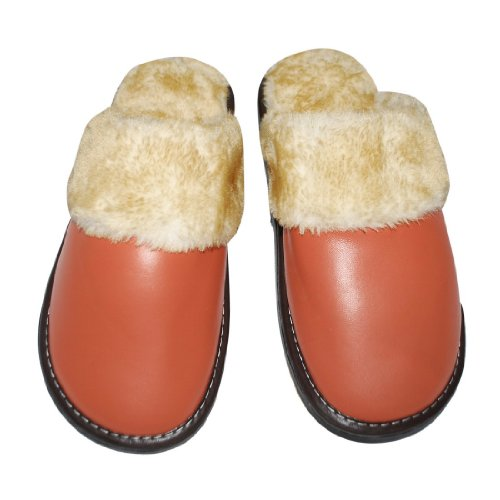Image of Womens Open Back Faux Fur Lounge / House Slippers with Leather Toe and Rubber Sole - US:6 UK:5.5 EU:36 (B004AU74QY)