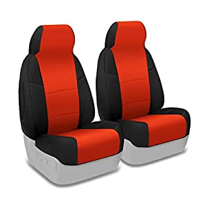 Coverking Custom Fit Front 50/50 Manual Bucket Seat Cover for Select Nissan Xterra Models - Neoprene (Inferno Orange with Black Sides)