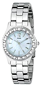 GUESS Women's G86149L Petite Sport & Sparkle Crystal Silver-Tone Watch