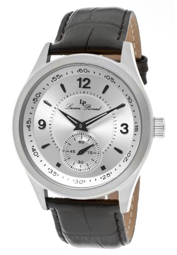 Lucien Piccard Men's 11606-02S Grande Casse Silver Dial Black Leather Watch