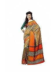 First Loot Designer Party Wear Raw Silk Orange Saree -2367