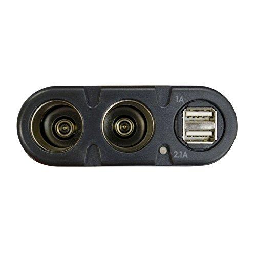 オウルテック 安心1年保証 2連シガーソケット分配器 USB2ポート搭載(合計3.1A) 12V/24V車対応 ブラック ケーブル長90cm