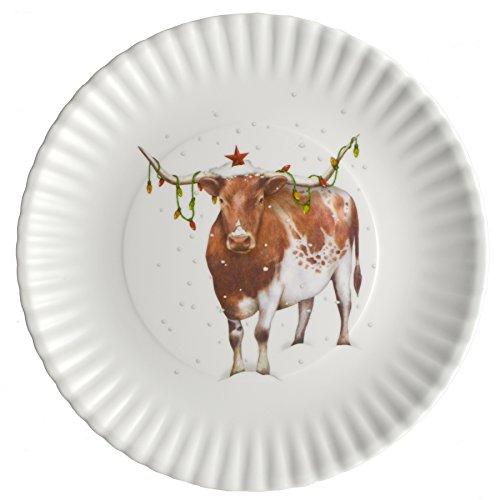 Melamine Christmas Platters.Christmas Longhorn Steer 9 Inch Melamine Plates Set Of 4