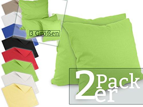 Doppelpack zum Vorteilspreis - Renforcé-Kissenbezüge aus 100% Baumwolle - schlicht und edel im Design, universell einsetzbar und kombinierbar - in 8 Uni-Farben, 40 x 40 cm, grün