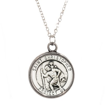 Silver Plated Chain Necklace with St Christopher design Pendant