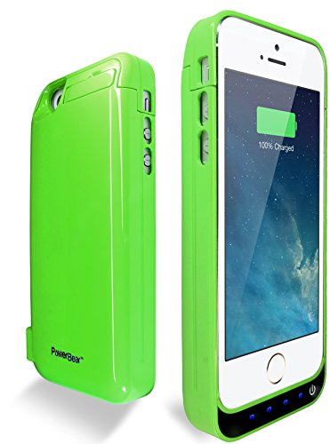 PowerBear® Stamina Series iPhone 5, iPhone 5S, iPhone 5C Extended Rechargeable Battery Power Case with Built in PowerBank - GREEN  comes with FREE Screen Protector