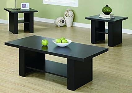 CAPPUCCINO HOLLOW-CORE 3PCS OCCASIONAL TABLE SET with Chanasya Polish Cloth Bundle
