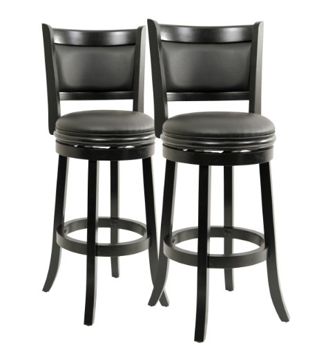 Boraam Augusta Swivel Stool, 29-Inch, Black Finish, 2-Pack front-20918