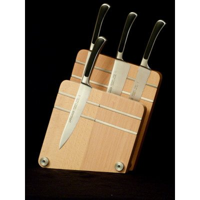Artelegno Magnetic Knife Block Solid Beech Wood 2 Panel Displays/Protects 10 High-End Knives Elegantly, Luxurious Italian Milano Collection by Master