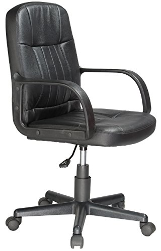 Comfort Products 60-5607M Mid-Back Leather Office Chair, Black