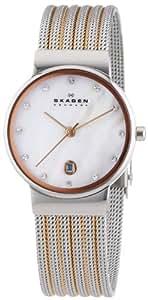 Skagen Damen-Armbanduhr XS Analog Quarz Edelstahl beschichtet 355SSRS