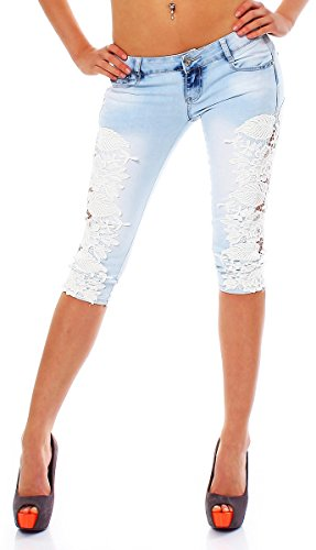 10554 Fashion4Young Damen Sexy Capri-Jeans Bermuda Short kurze Hose Hot Pants Shorts jeans Spitze