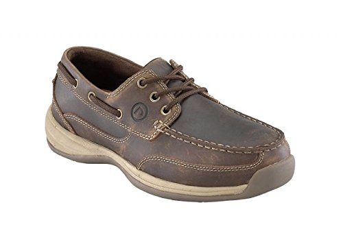 Rockport® Works™ Crazy Horse Leather Boat Shoes, Brown, 11.5