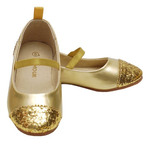 L'Amour Toddler Girl 5 Gold Glitter Heel Toe Mary Jane Style Shoe front-307922