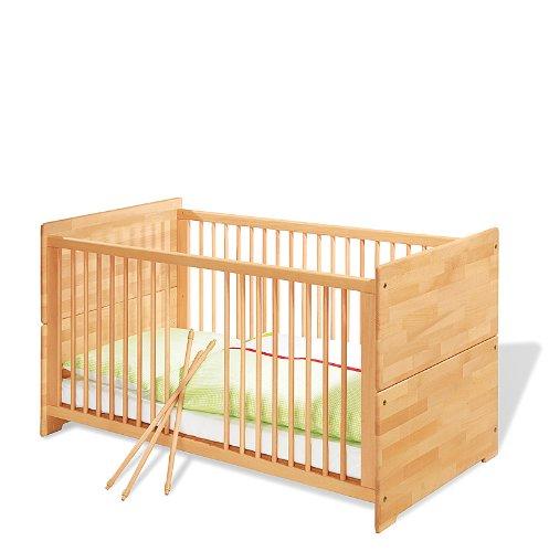 Pinolino-Kinderbett-Natura-stabiles-natrliches-Babybett-140-x-70-cm-mit-3-Schlupfsprossen-aus-vollmassiver-Buche-gelt-Umbauseiten-enthalten-Art-Nr-11-21-74