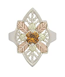 buy Fancy Etruscan-Style Citrine Ring, Sterling Silver, 12K Green And Rose Gold Black Hills Gold Motif