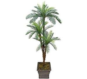 cheap two 6 39 cycas tripled artificial palm tree silk plant plastic fronds with no pot fake. Black Bedroom Furniture Sets. Home Design Ideas