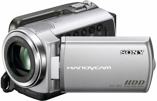 Sony DCRSR57E Handycam Camcorder With Built-in 80GB Hard Disc Drive - Silver (61hrs)